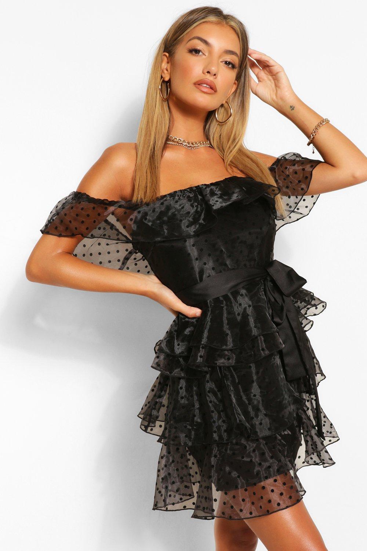 80s Dresses | Casual to Party Dresses Womens Polka Dot Bardot Tiered Skater Dress - Black - 14 $20.00 AT vintagedancer.com
