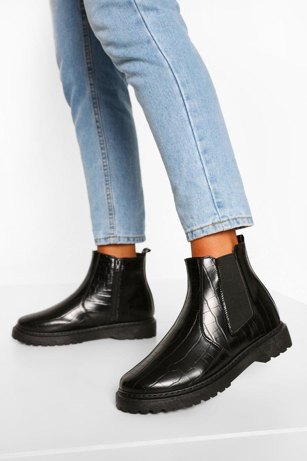 Womens Wide Fit Croc Chunky Chelsea Boots - Black - 3