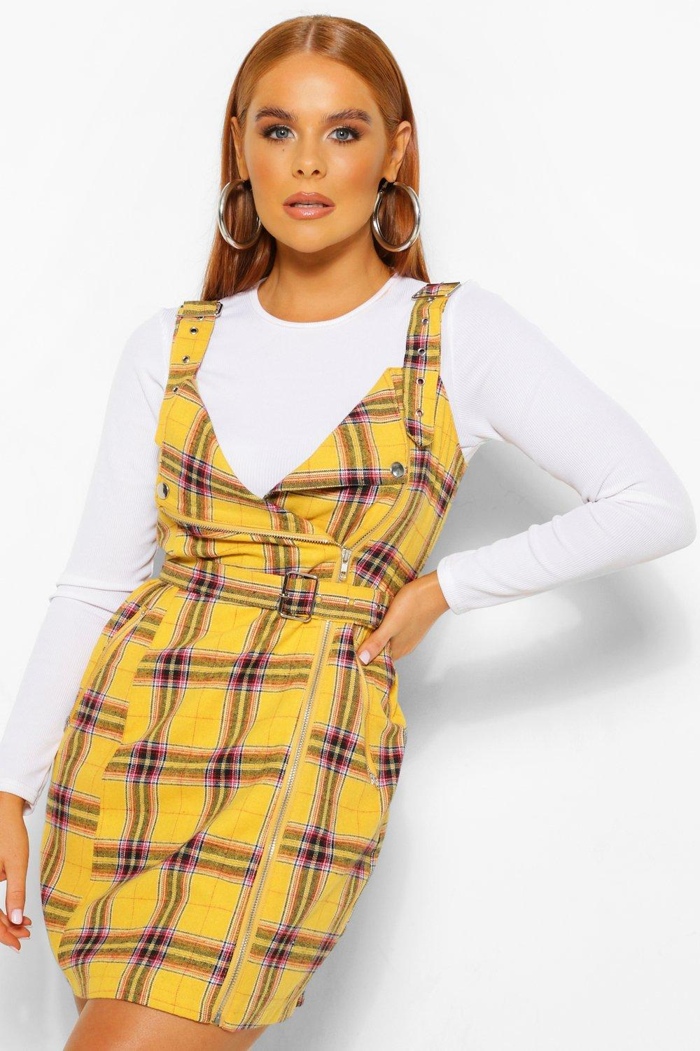 90s Clothing Outfits You Can Buy Now Womens Flannel Biker Detail Pinny Dress - Yellow - 10 $9.60 AT vintagedancer.com