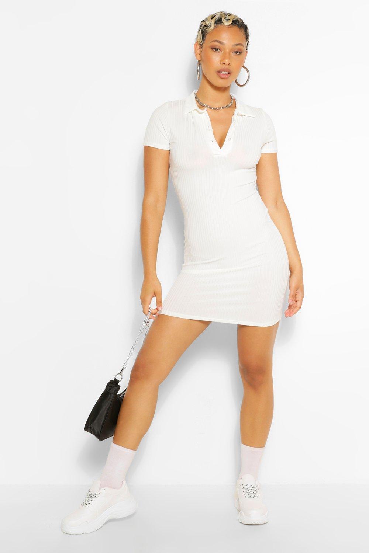 womens button down collar detail t-shirt dress - white - 6