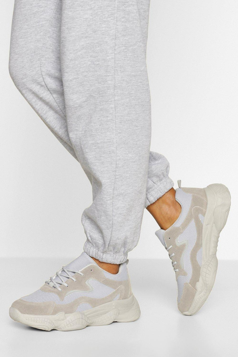 womens wide fit chunky sole sneakers - grey - 5