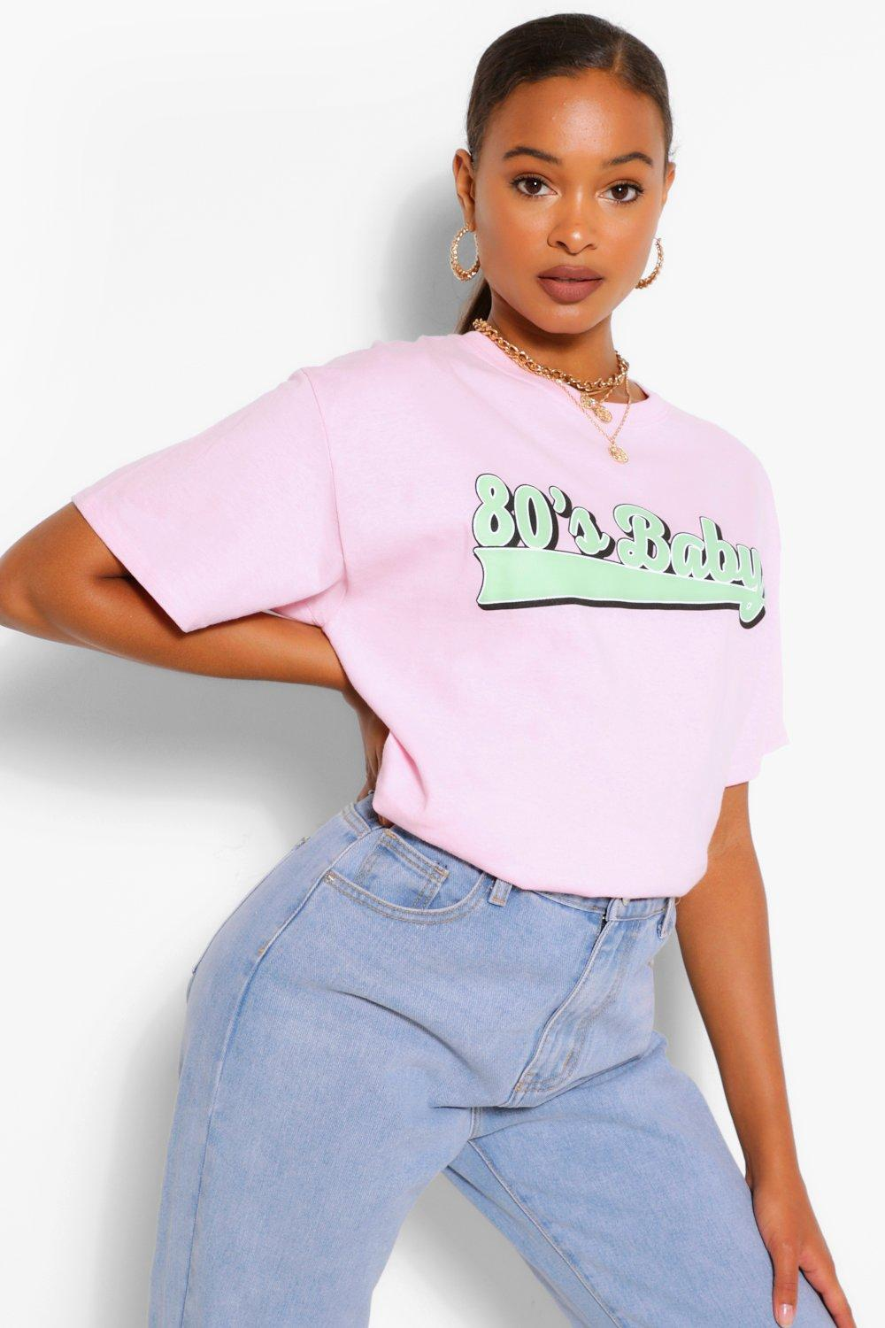 80s Costumes, Outfit Ideas- Girls and Guys Womens 80S Baby Graphic T-Shirt - Pink - M $8.00 AT vintagedancer.com
