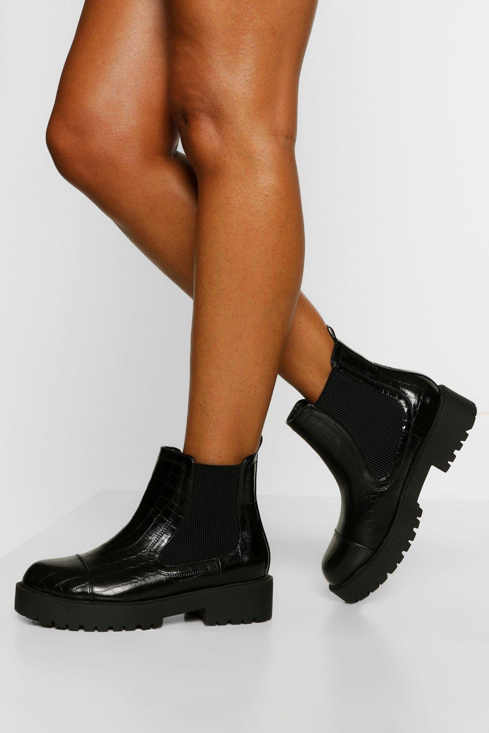 Womens Wide Fit Chunky Chelsea Boots - Black - 3