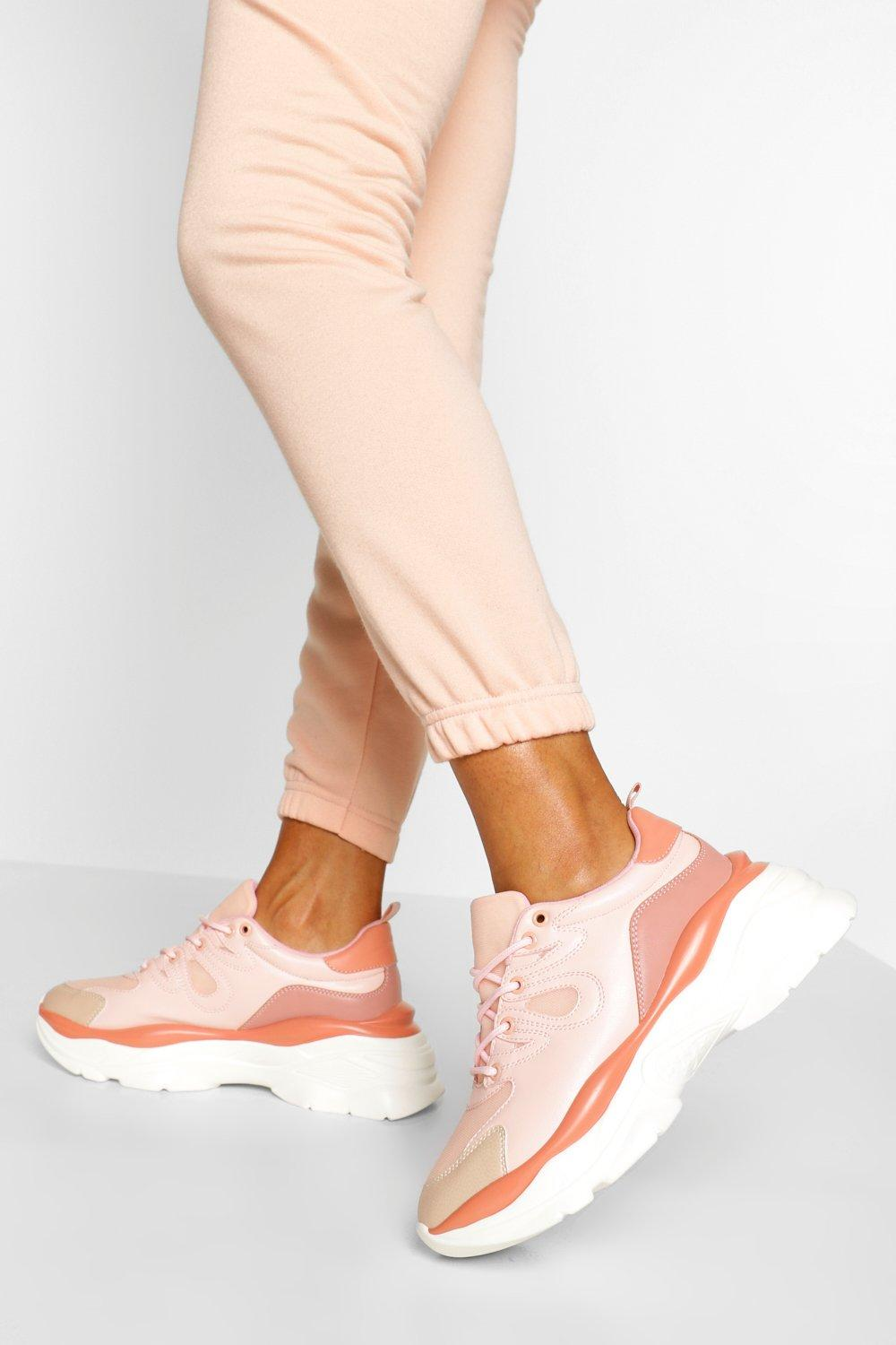 womens super chunky platform sneakers - pink - 5