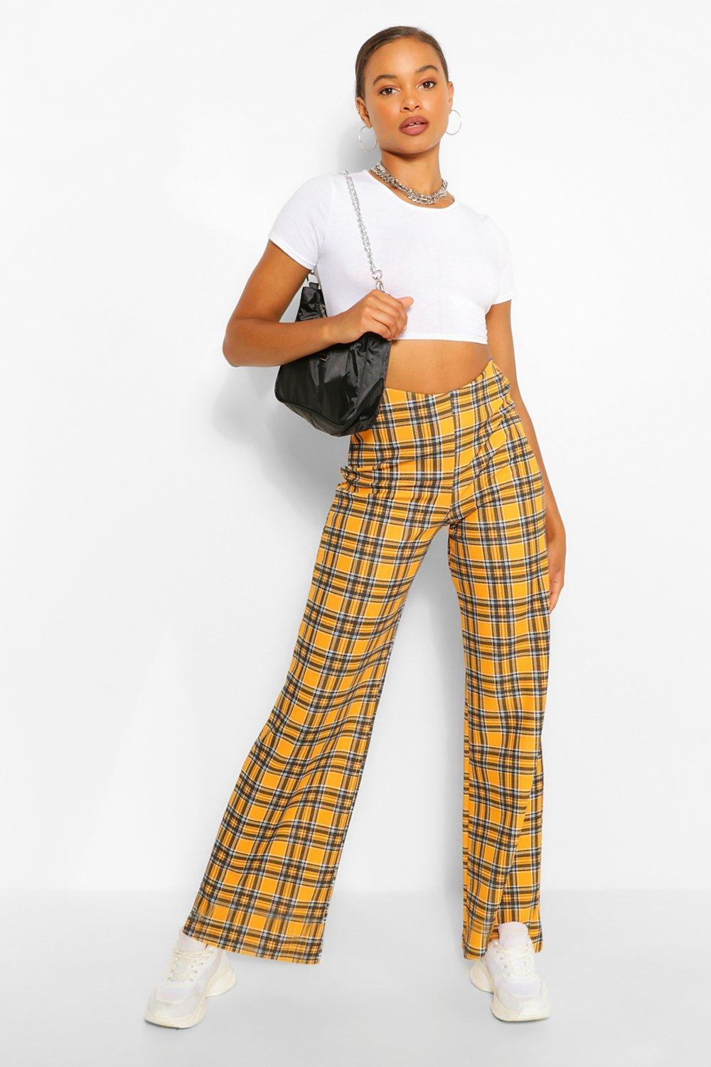 1980s Clothing, Fashion | 80s Style Clothes Womens Flanneled Wide Leg Pants - Yellow - 12 $15.00 AT vintagedancer.com