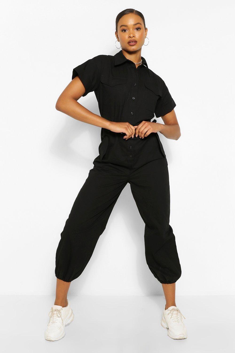 1980s Clothing, Fashion | 80s Style Clothes Womens Woven Turn Up Cuff Belted Jumpsuit - Black - 12 $27.00 AT vintagedancer.com