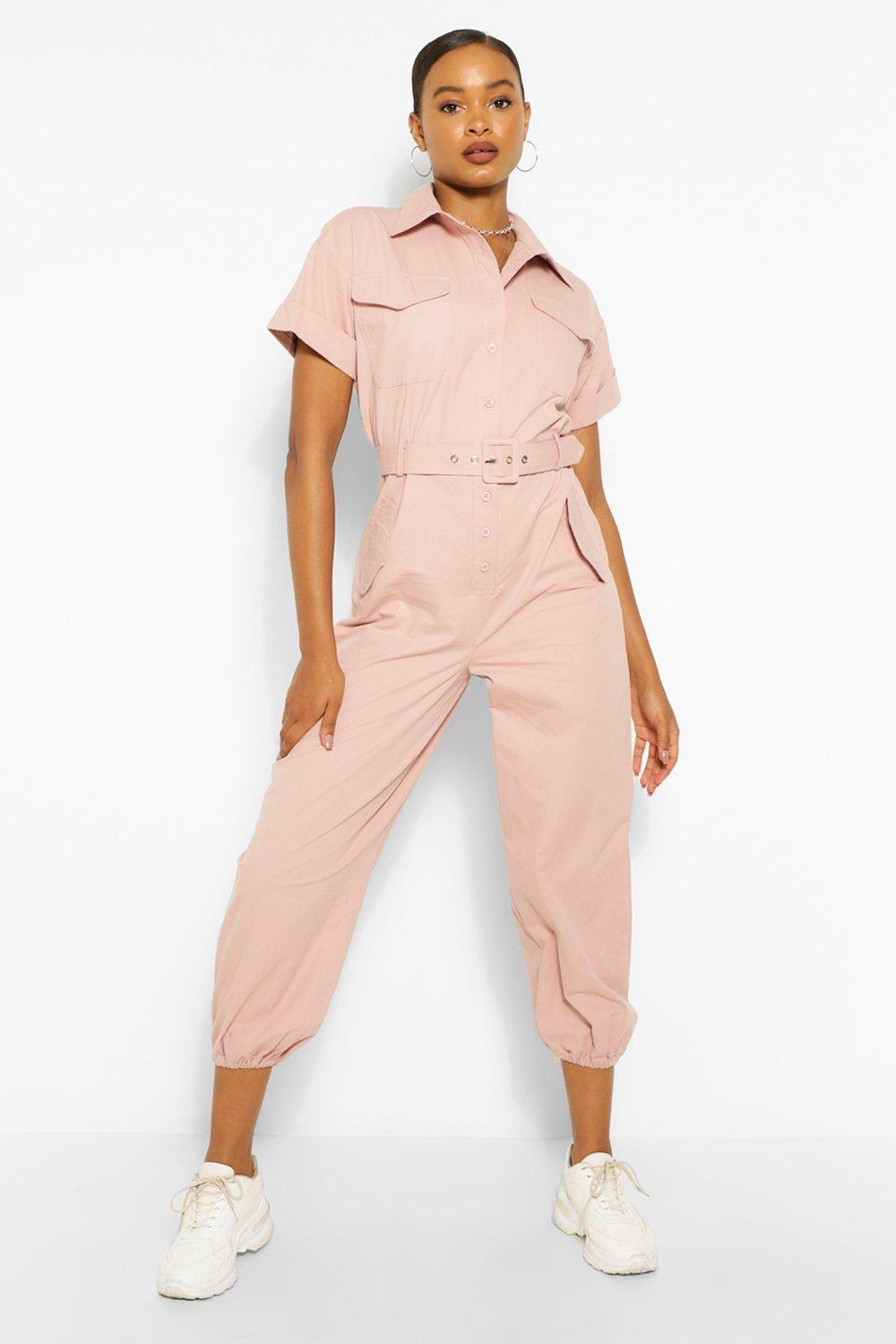 Vintage Overalls & Jumpsuits Womens Woven Turn Up Cuff Belted Jumpsuit - Pink - 12 $23.20 AT vintagedancer.com