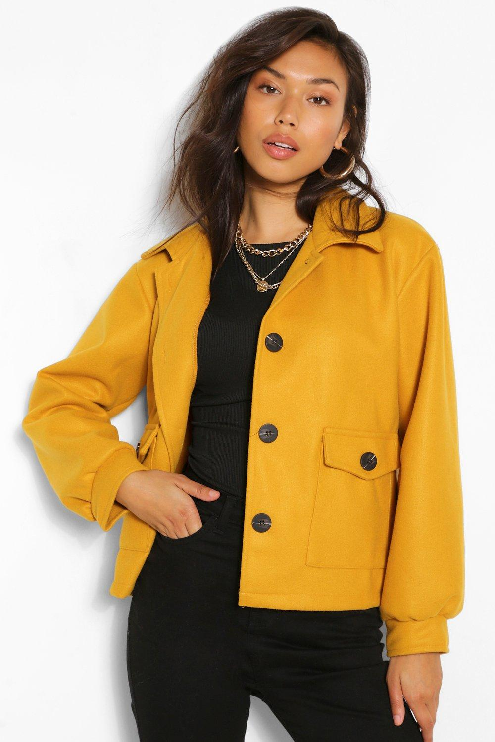 1950s Jackets, Coats, Bolero | Swing, Pin Up, Rockabilly Womens Cropped Wool Look Jacket - Yellow - 12 $15.20 AT vintagedancer.com