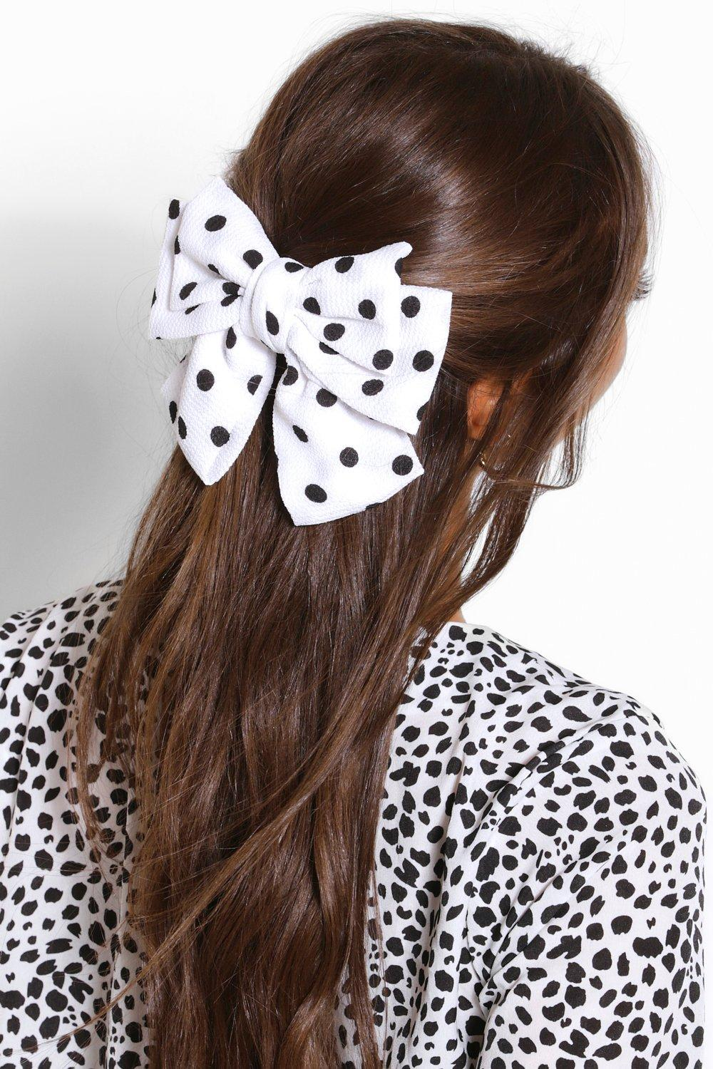 1950s Accessories | 50s Scarf, Belt, Parasol, Umbrella Womens Polka Dot Bow Hair Clip - White - One Size $4.80 AT vintagedancer.com