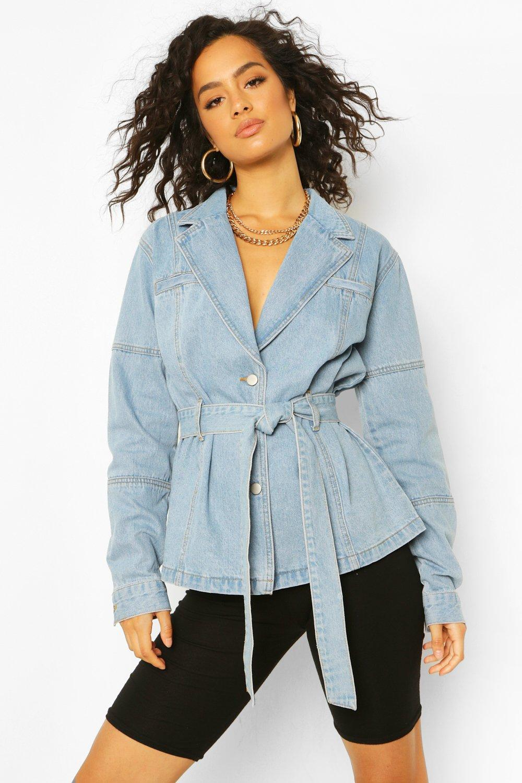70s Outfits – 70s Style Ideas for Women Womens Denim Belted Blazer Jacket - Blue - 12 $55.00 AT vintagedancer.com