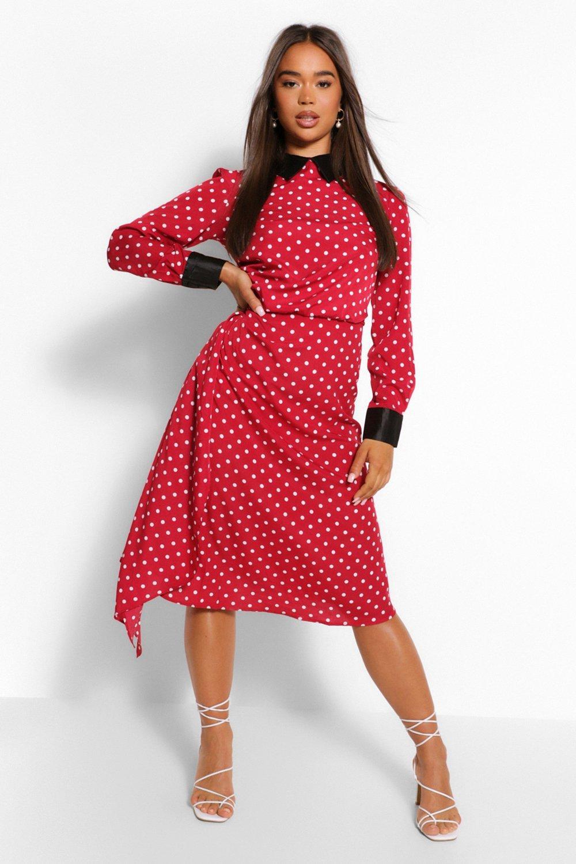 Polka Dot Dresses: 20s, 30s, 40s, 50s, 60s Womens Polka Dot Collar Detail Draped Midi Dress - Red - 14 $28.00 AT vintagedancer.com
