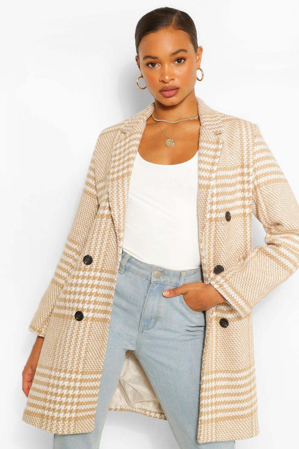 Vintage Coats & Jackets | Retro Coats and Jackets Womens Tonal Flannel Double Breasted Wool Look Coat - Beige - 12 $80.00 AT vintagedancer.com