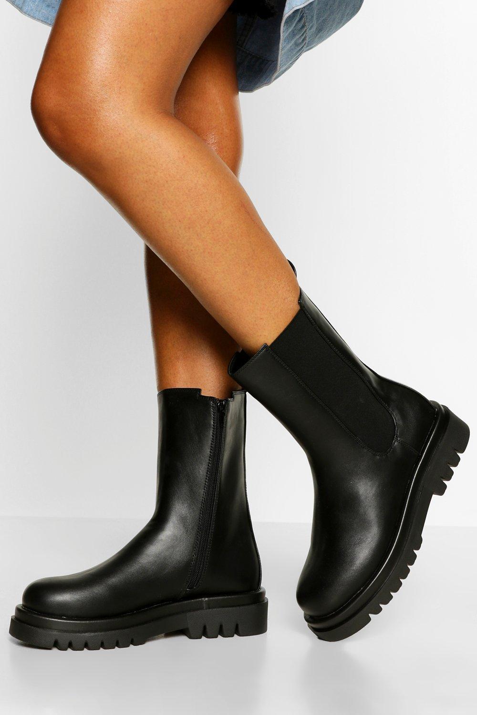 Womens Calf High Chunky Hiker Boots - Black - 3