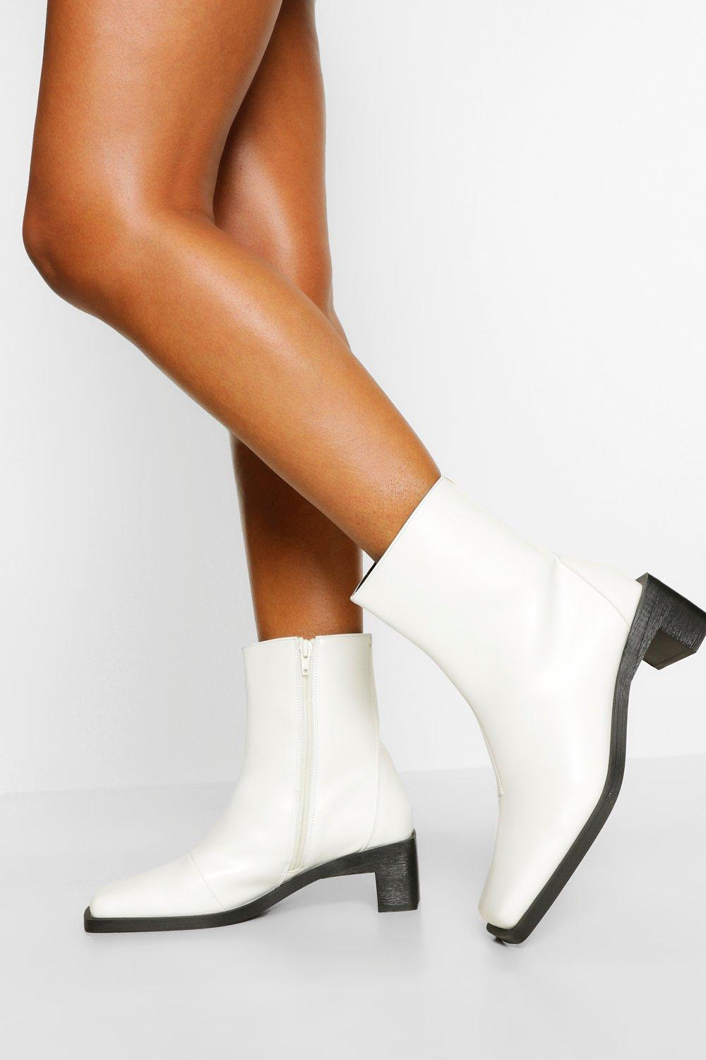 70s Shoes, Platforms, Boots, Heels | 1970s Shoes Womens Interest Low Heel Shoe Boot - White - 10 $45.00 AT vintagedancer.com