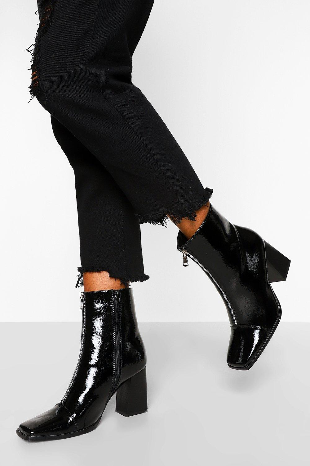 Vintage Boots, Retro Boots Womens Zip Front Square Toe Shoe Boot - Black - 10 $23.20 AT vintagedancer.com