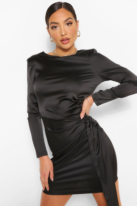 80s Dresses | Casual to Party Dresses Womens Long Sleeve Satin Drape Detail Mini Dress - Black - 10 $18.00 AT vintagedancer.com