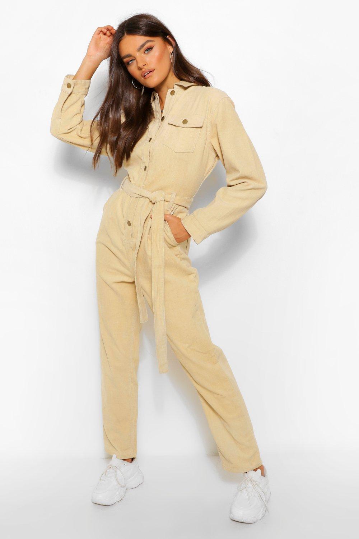 70s Jumpsuit | Disco Jumpsuits, Sequin Rompers Womens Cord Belted Jumpsuit - Beige - 12 $28.80 AT vintagedancer.com