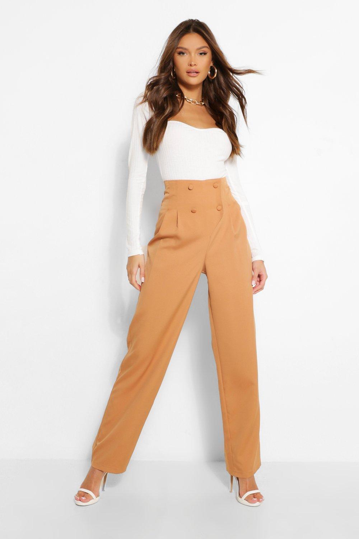 80s Jeans, Pants, Leggings Womens Button Front Pleat High Rise Straight Leg Pants - Brown - 10 $16.00 AT vintagedancer.com