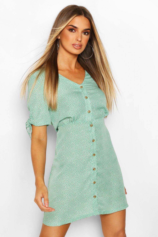 womens ditsy print tea dress - green - s