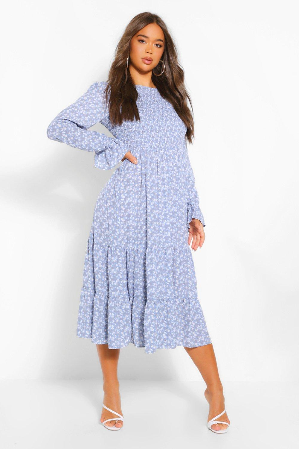 Cottagecore Dresses Aesthetic, Granny, Vintage Womens Floral Print Long Sleeve Tiered Midaxi Smock Dress - Blue - 14 $22.00 AT vintagedancer.com