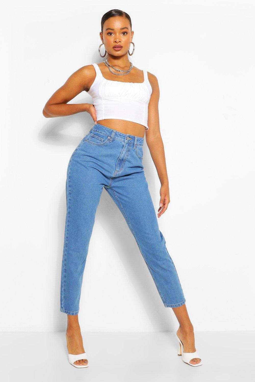 1980s Clothing, Fashion | 80s Style Clothes Womens Mid Rise Boyfriend Jean - Blue - 12 $12.00 AT vintagedancer.com