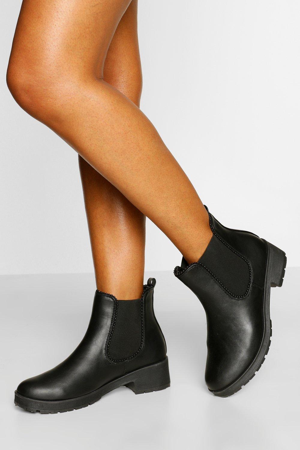 Womens Wide Fit Stud Detail Chunky Chelsea Boot - Black - 3