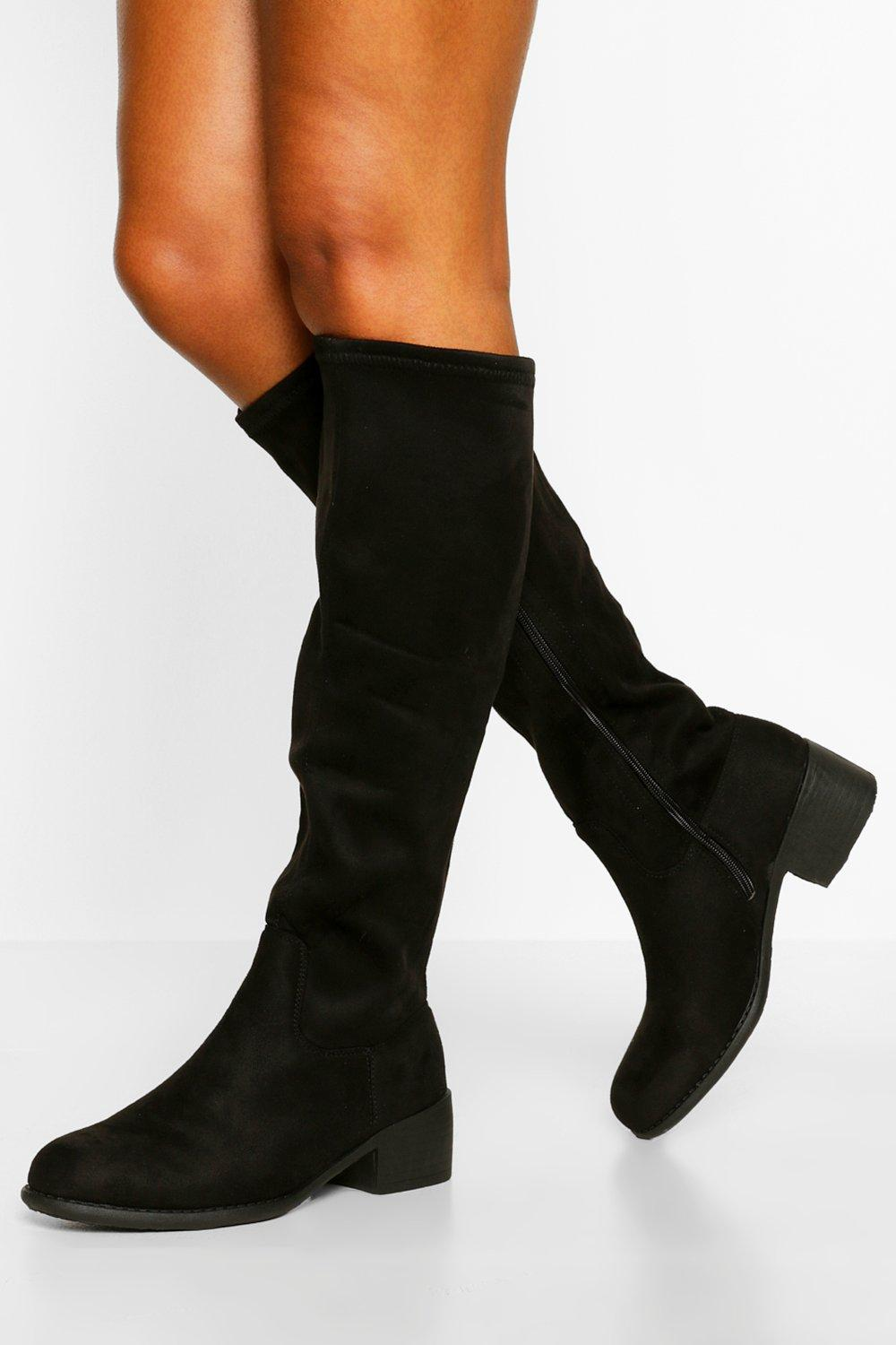 Vintage Boots, Retro Boots Womens Wide Fit Flat Knee High Boot - Black - 10 $34.00 AT vintagedancer.com