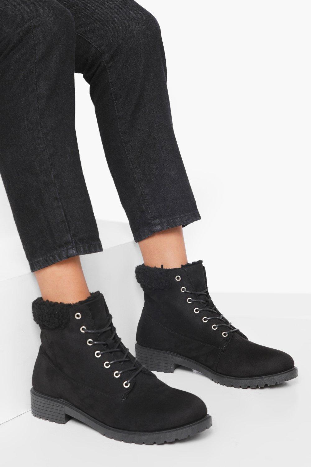 Vintage Boots, Retro Boots Womens Wide Fit Shearling Cuff Hiker Boot - Black - 10 $35.00 AT vintagedancer.com