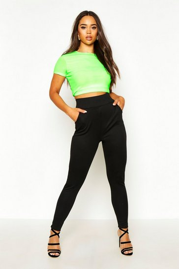 Womens Black High Waisted Ponte Pocket Detail Treggings