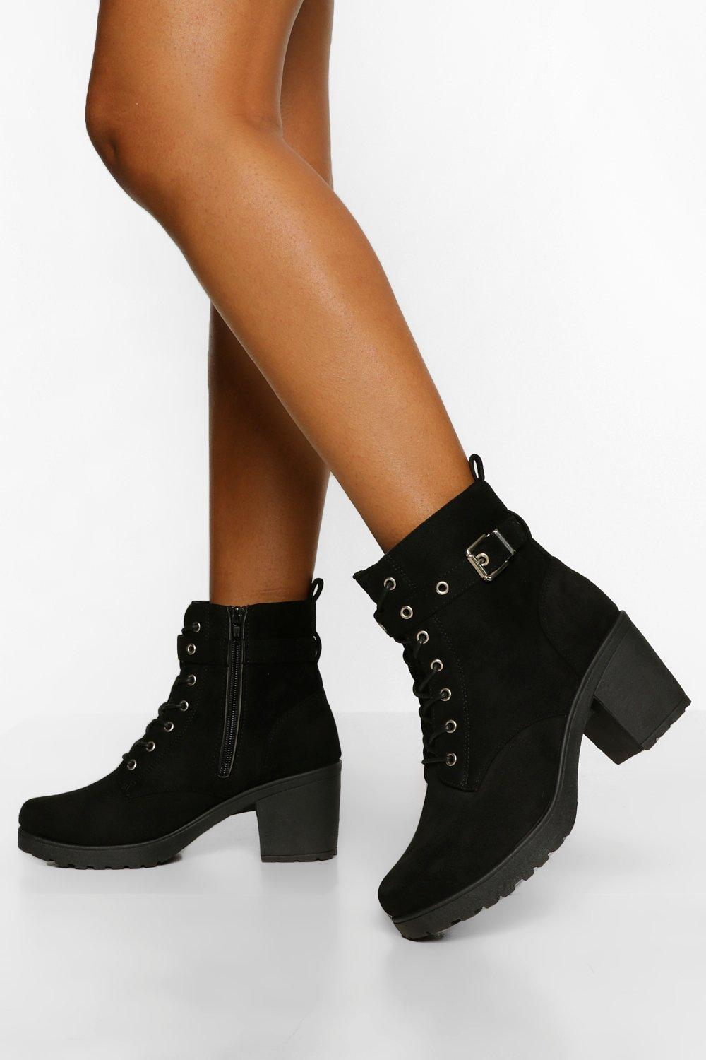 Womens Buckle Lace Up Chunky Hiker Boots - Black - 3