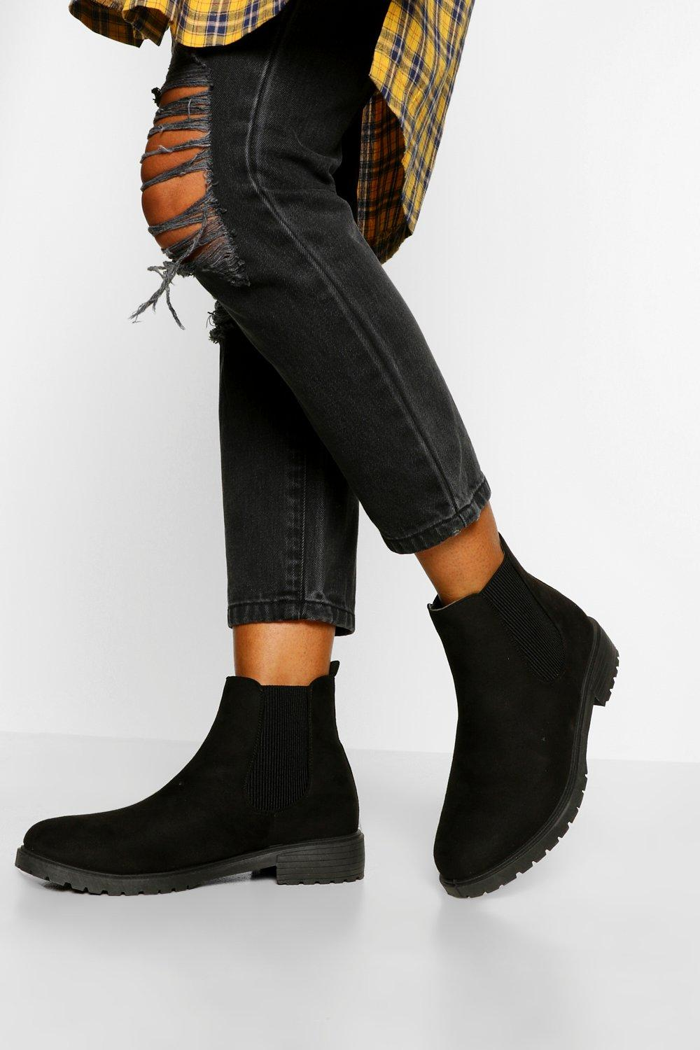 Womens Wide Fit Pull On Chelsea Boots - Black - 3