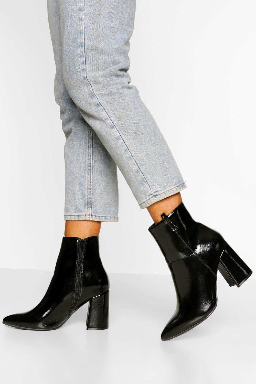 70s Shoes, Platforms, Boots, Heels | 1970s Shoes Womens Wide Width Pointed Block Heel Shoe Boot - Black - 10 $25.60 AT vintagedancer.com