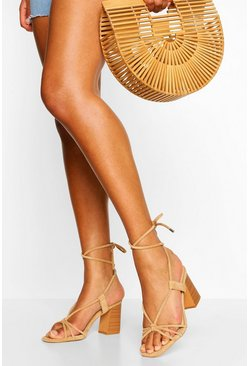 Wrap Up Strap Block Heel Sandals, Beige