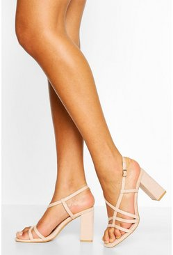 Strappy Block Heel Sandals, Nude