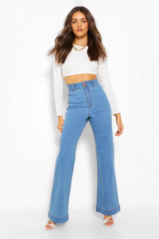 60s Pants, Jeans, Hippie, Flares, Jumpsuits Womens Basic Fitted Denim Flared Jean - Blue - 12 $22.50 AT vintagedancer.com