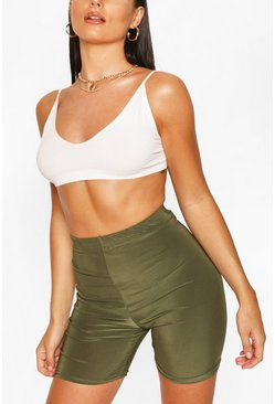 HIGH WAIST SLINKY CYCLING SHORT, Khaki