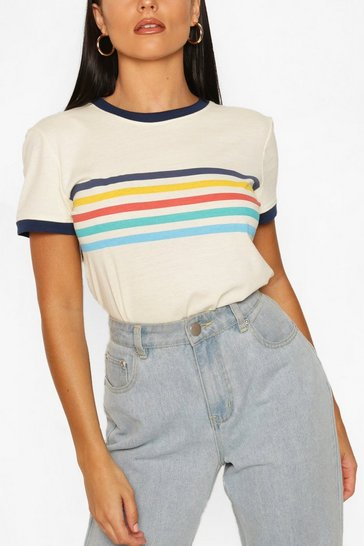 Cream Rainbow Stripe Ringer T shirt