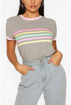Grey Rainbow Stripe Ringer T shirt