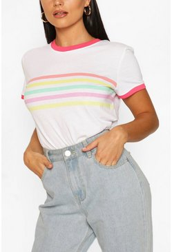 White Rainbow Stripe Ringer T shirt