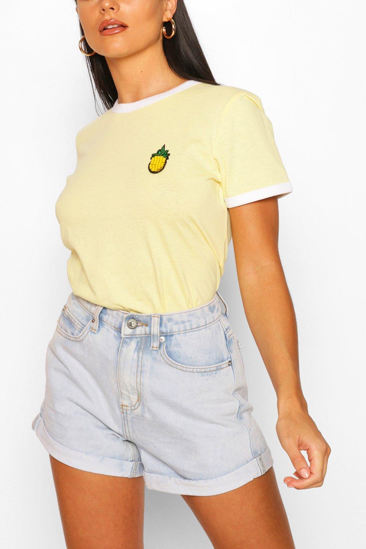 1950s Rockabilly & Pin Up Tops, Blouses, Shirts Womens Pineapple Pocket Print Ringer T-Shirt - Yellow - Xs $8.00 AT vintagedancer.com