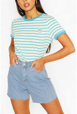 Aqua Pocket Print Stripe Ringer T-shirt