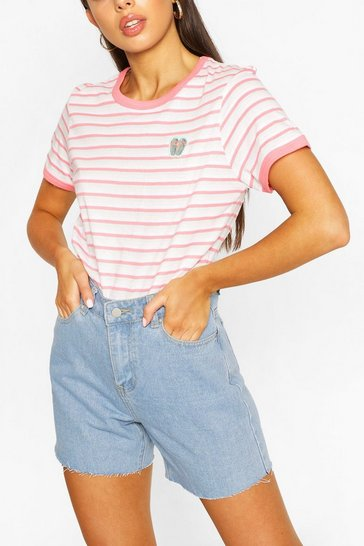 Coral Pocket Print Stripe Ringer T-shirt