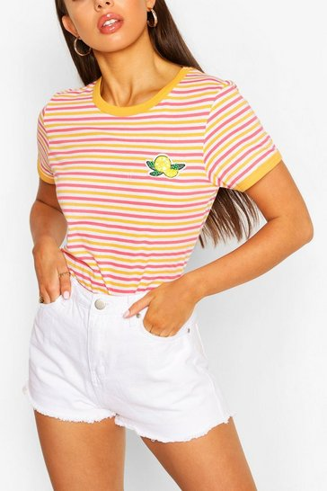 Coral Lemon Stripe Ringer T-shirt