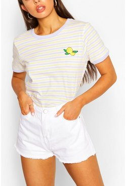 Lilac Lemon Stripe Ringer T-shirt