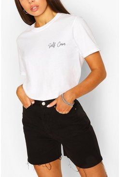 Self Care Slogan T-Shirt, White