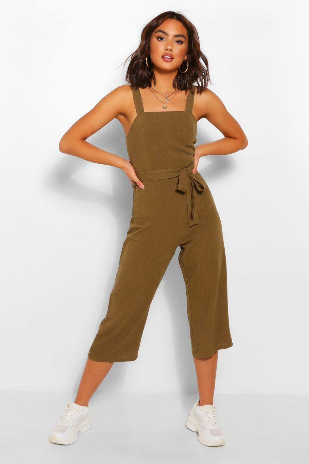 Cottagecore Clothing, Soft Aesthetic Womens Linen Culotte Jumpsuit With Tie Front - Green - 10 $18.00 AT vintagedancer.com