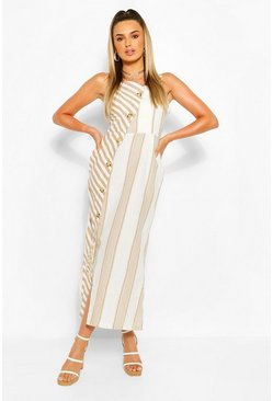 Nude Asymetric Button Front MIxed Stripe Midi Dress