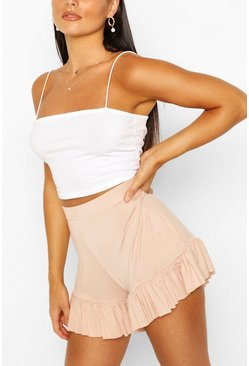 Rose Ribbed Jersey Frill Hem Shorts