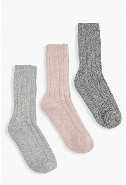 Multi 3 Pack Chunky Knit Wool Socks