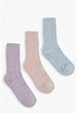 Multi 3 Pack Chunky Knit Socks